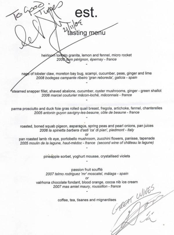 The est tasting menu